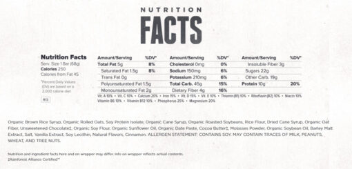 Clif Bar- Chocolate Chip- Nutrition Facts
