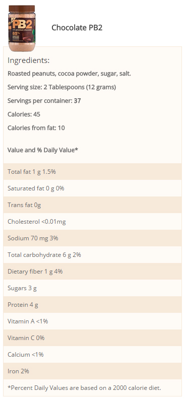 PB2/Bell Plantation- PB2 Chocolate 1lb- Nutrition Facts