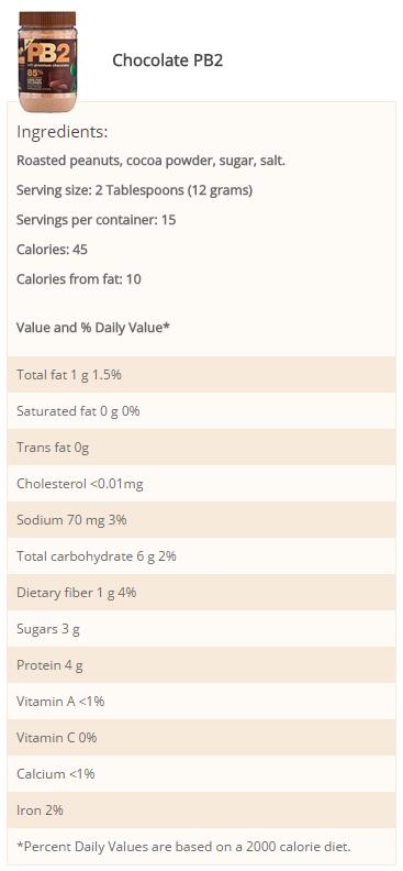 PB2/Bell Plantation- PB2 Chocolate 6.5oz- Nutrition Facts