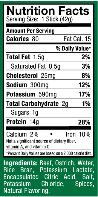 Ostrim- Beef & Ostrich Natural Nutritional Label