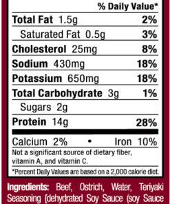 Ostrim- Beef & Ostrich Teriyaki Nutritional Label