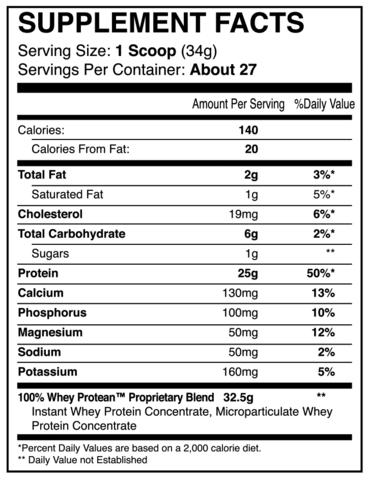 iForce Nutrition- 100% Whey Protean- Nutrition Facts