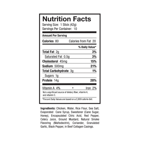 Ostrim- Chicken Buffalo Wing Nutritional Label