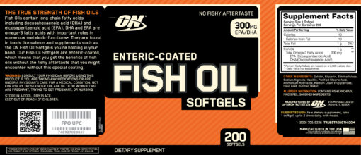 Optimum Nutrition- Fish Oil 200 softgels Label