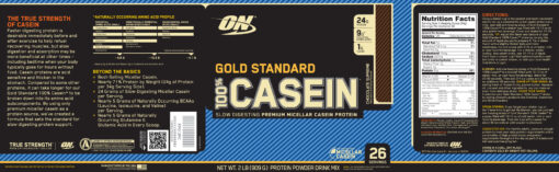 Optimum Nutrition- Gold Standard 100% Casein 2lb Chocolate Label