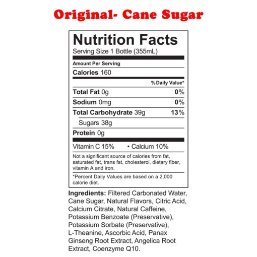 Uptime Energy- Original Cane Sugar nutrition facts