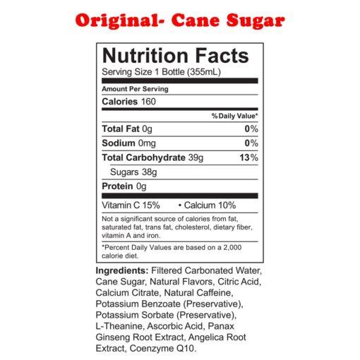 Uptime Energy- Original Cane Sugar nutrition facts
