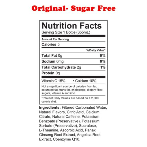 Uptime Energy- Original Sugar Free nutrition facts