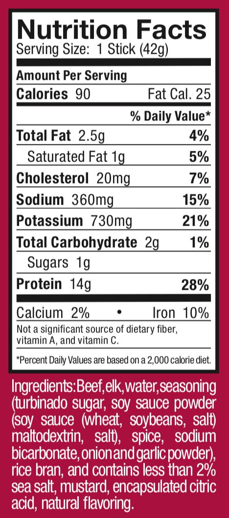 Ostrim- Beef & Elk Teriyaki Nutritional Label