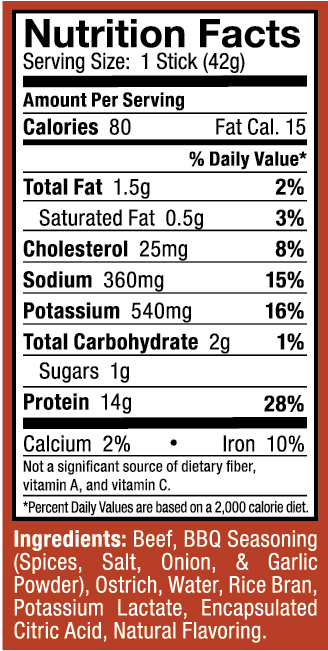 Ostrim- Beef & Ostrich Barbecue Nutritional Label