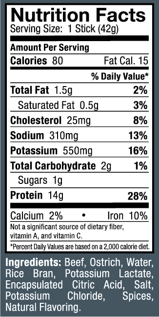Ostrim- Beef & Ostrich Pepper Nutritional Label