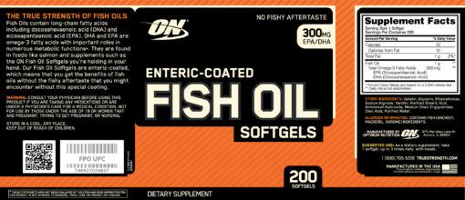 Optimum Nutrition- Fish Oil 200 softgels Label